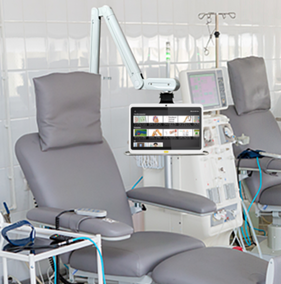 Swing Arm Televisions, HCI patient TV, hospital television, infusion center, dialysis center