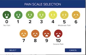 The HCI graphical pain scale allows providers to record the pain level with a touch to the interactive patient whiteboard and write it back to the patient's EHR.