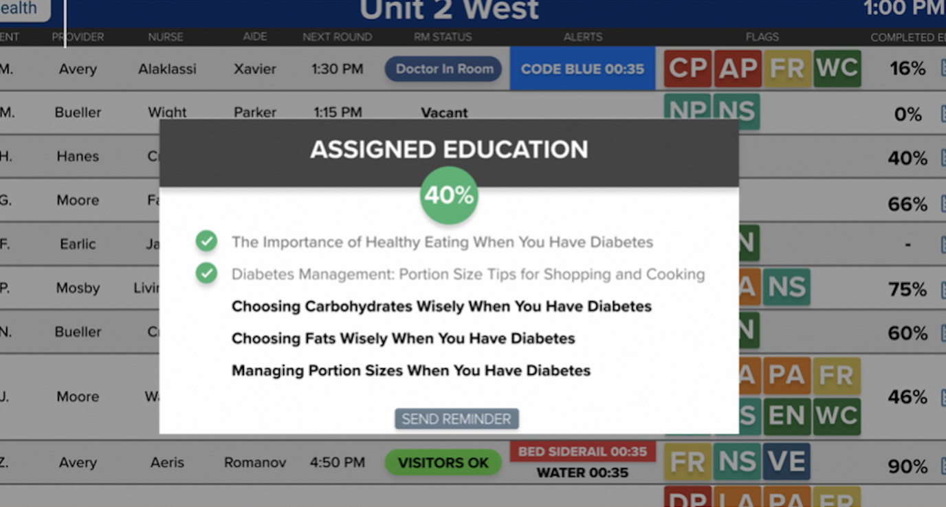 HCI hospital whiteboards, patient TVs and patient tablets can be used to push patient education and quality or service surveys to patients to measure and monitor patient satisfaction.