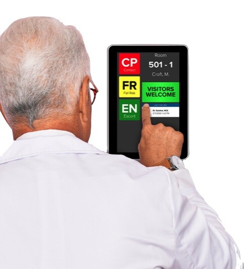 HCI Interactive Hall Whiteboard for patient room signage displays dynamic patient data in A HIPAA-Compliant form.