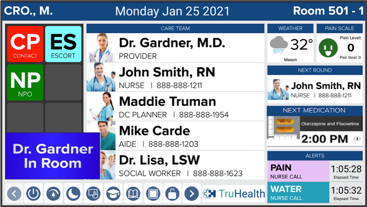 HCI digital whiteboards for hospitals and healthcare settings provide one-touch, at-a-glance patient monitoring and rounding.