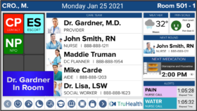HCI digital hospital whiteboards in healthcare settings provide one-touch, at-a-glance patient monitoring and rounding, and show RTLS Care Team information when a member of the Care Team enters a patient room. This supports CDS processes for better communication.
