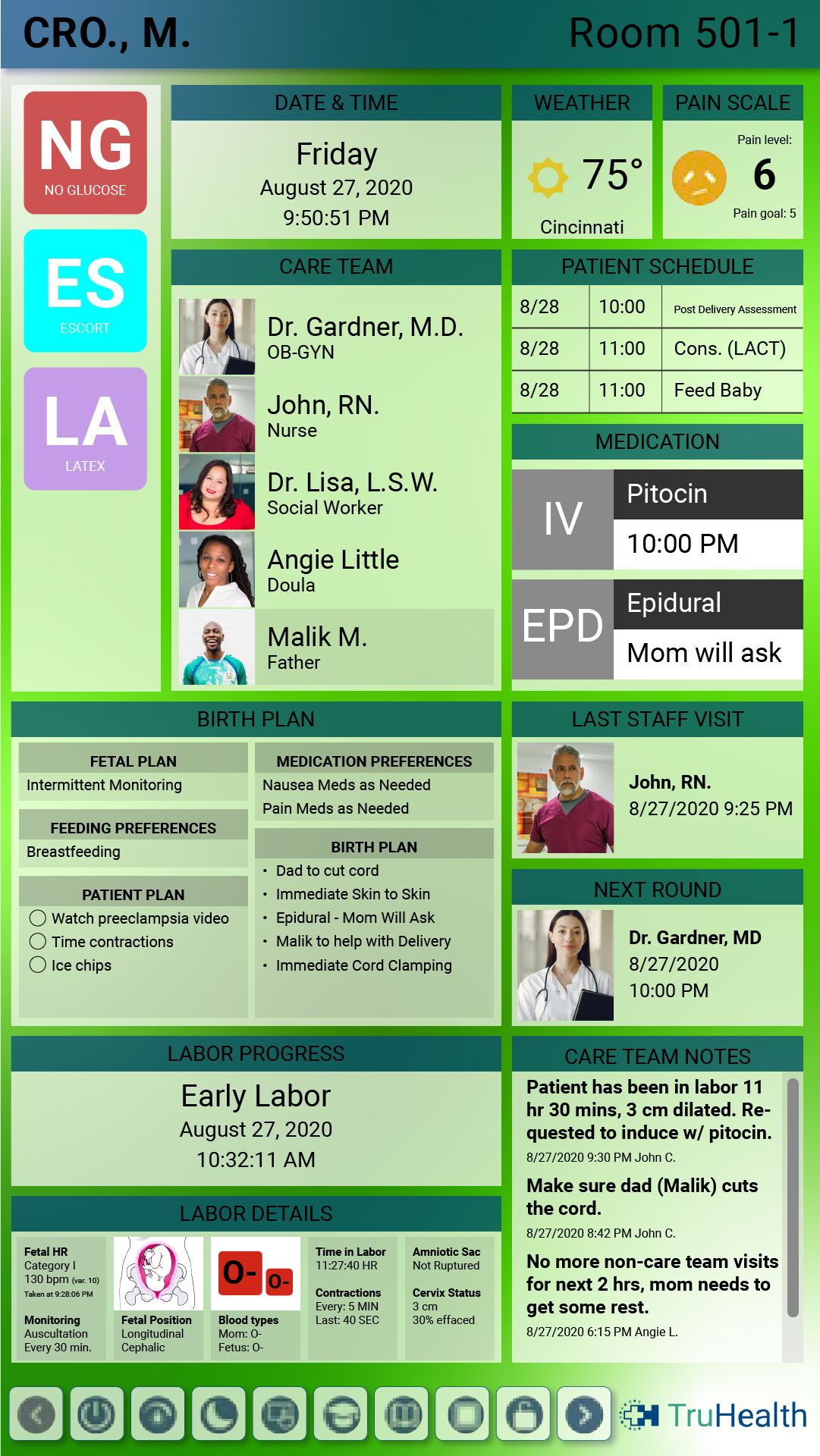 HCI digital whiteboards for labor and delivery are interactive with touch-enabled, custom layouts to support new Moms and babies.