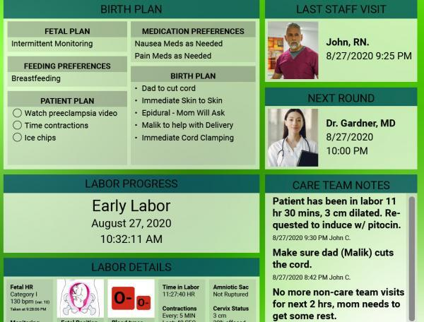 HCI Custom Labor and Delivery Digital Whiteboards offer patient safety and engagement.