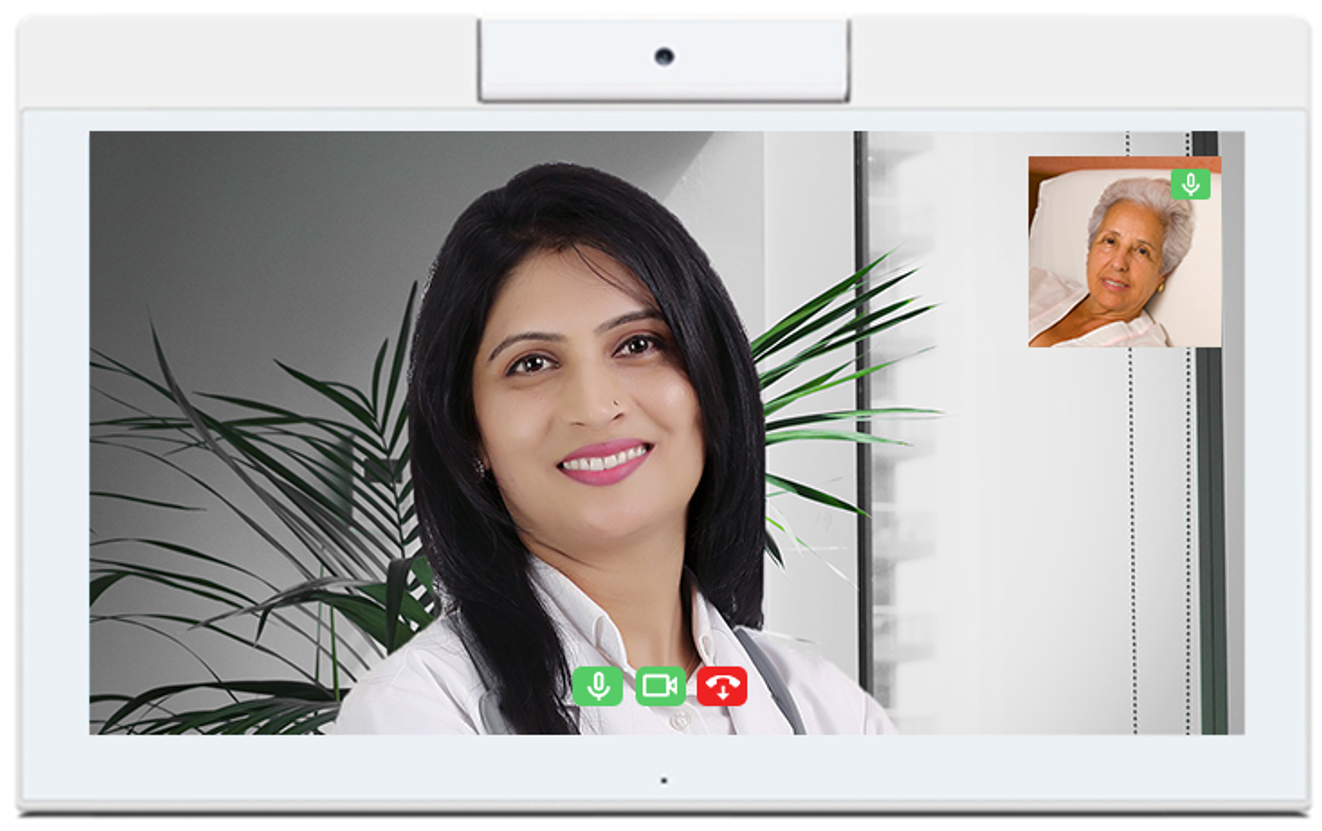 HCI Interactive Desktop Concierge Tablet provides videoconferencing capabilities in hospital and residential facilities.