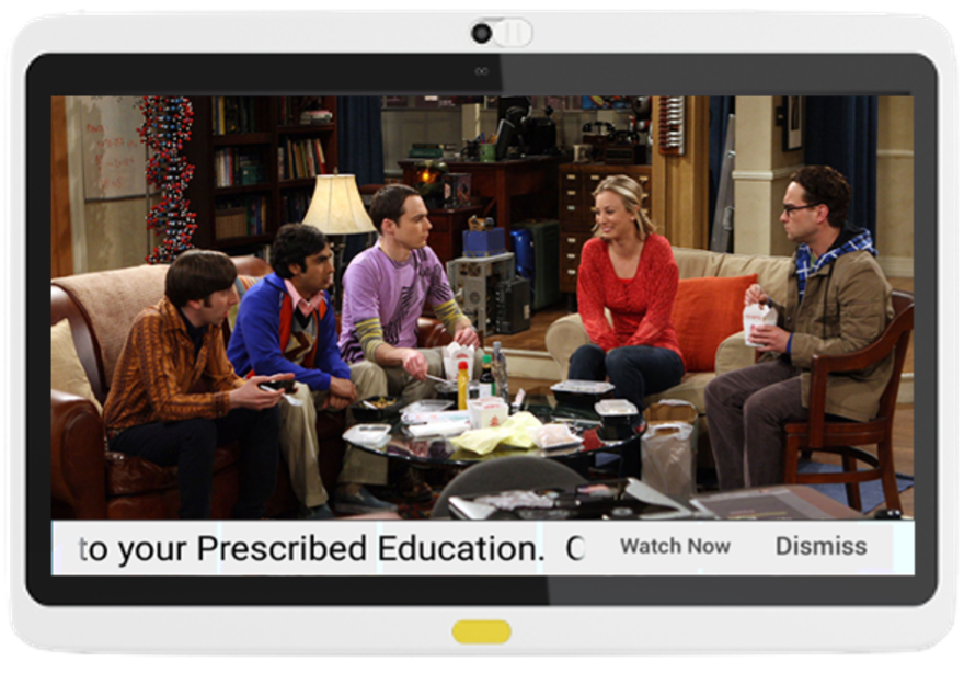 Healing with humor and offering healthy distractions can start with the bedside in-room patient TV. In addition, education is prescribed and a banner message pushed to the Patient TV.