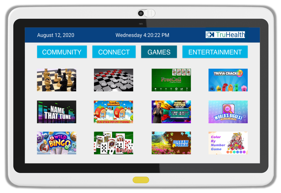 Offer patients choice with diversion activities using the Games App through MediaCare