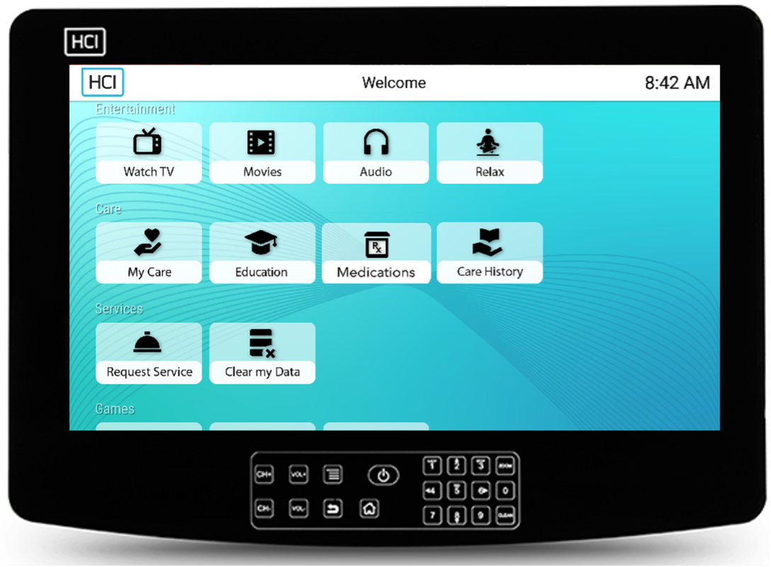 HCI RoomMate Patient TV Powered by Android Apps through MediaCare, with CareTV