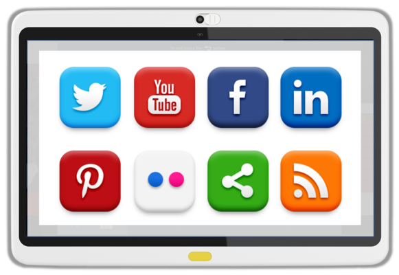 Social Channel access on HCI's BedMate Tablet TV, providing Android apps for higher patient satisfaction, with a range of choices for entertainment.