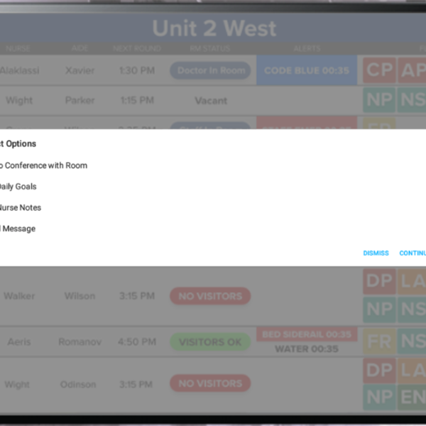 HCI's eSitter Patient Monitoring allows caregivers to send messages, set rounding notes and more.