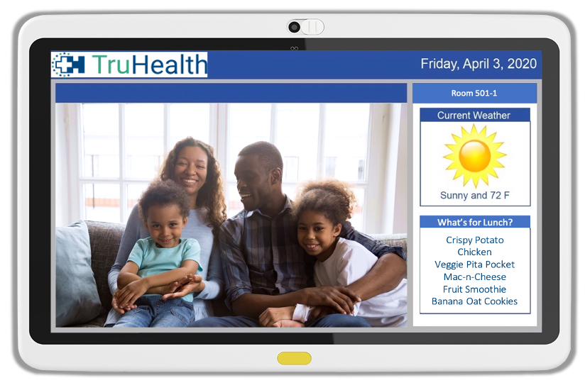 Family and Friends Interactive Module offers direct videoconferencing on hospital whiteboards and tablets to keep patients connected to loved ones.