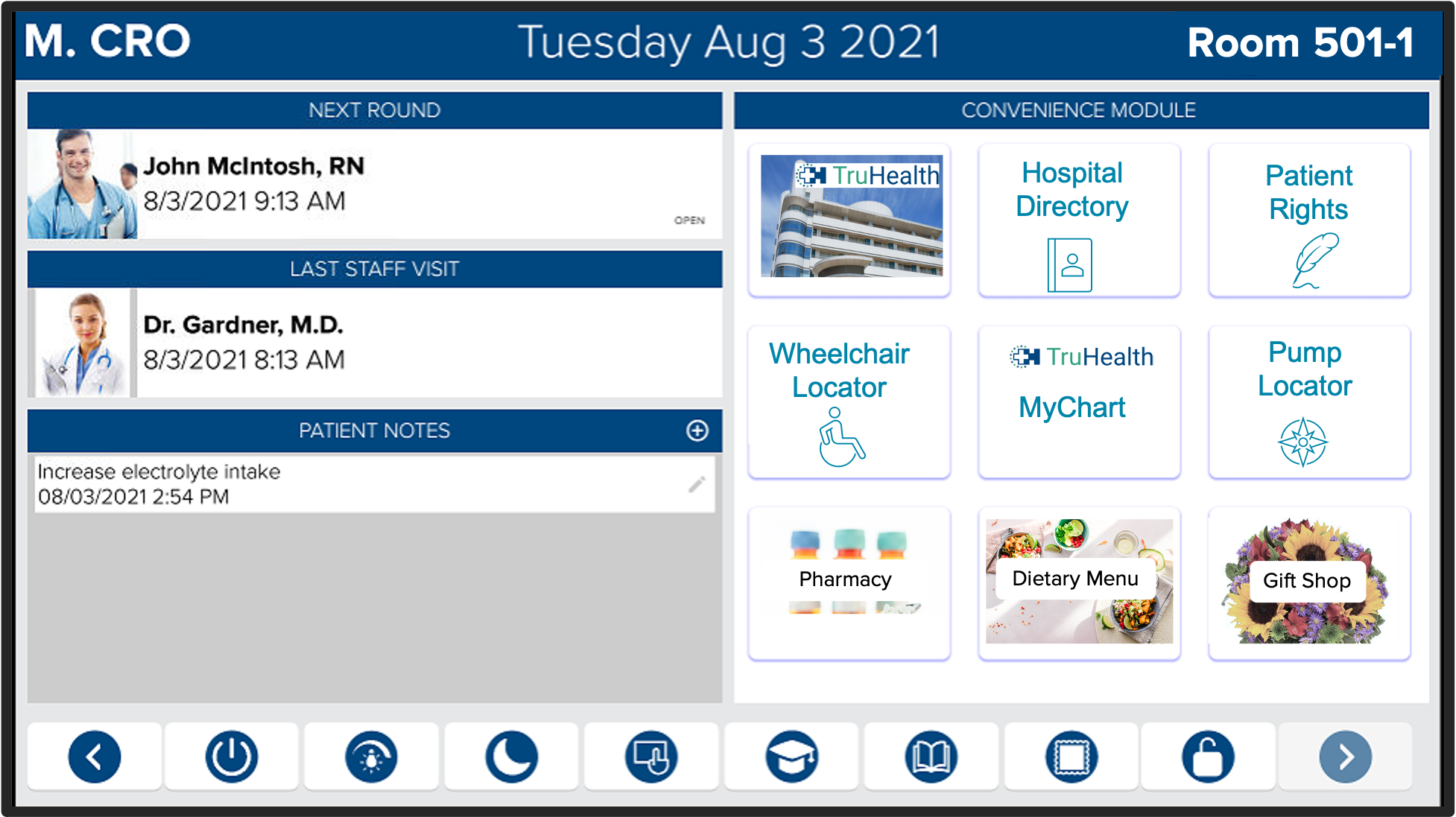 HCI offers the Convenience Module on our hospital whiteboards for greater patient engagement and patient convenience, with access to information to make their healthcare stay more informative and productive.